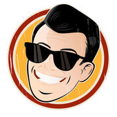 Relaxed cartoon head with sunglasses — Stock Vector