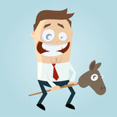 Funny cartoon man with toy horse — Stock Vector