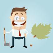 Funny cartoon man with felled tree — Stock Vector