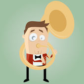 Funny cartoon man playing tuba — Stock Vector
