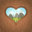 Wooden heart with idyllic view outside — Stockvector