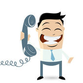 Funny cartoon man with telephone — Stock Vector