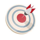 Dartboard with dart in bullseye — Stock Vector