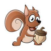 Funny cartoon squirrel — Stock Vector