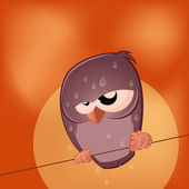 Sullen cartoon bird is sweating — Stockvector