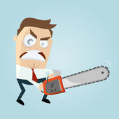 Angry man with chainsaw — Stock Vector
