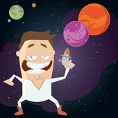 Space hero with galaxy background — Stock Vector