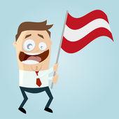 Happy cartoon man with austrian flag — 图库矢量图片