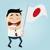 Happy cartoon man with japanese flag — ストックベクタ