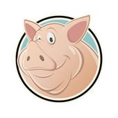Funny cartoon pig in a sign — Vector de stock