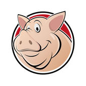 Isolated cartoon pig in a badge — Stockvektor
