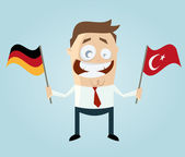 Businessman with german and turkish flag — Stock Vector
