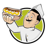 Happy man is serving a german bratwurst — Stock Vector