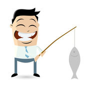 Funny businessman with big fish — Stock Vector