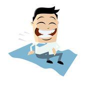 Funny businessman riding magic carpet — Stock Vector