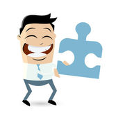 Funny businessman with puzzle piece — Stock Vector