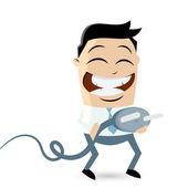 Funny businessman with energy plug — Stock Vector
