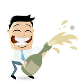 Funny businessman celebrating with sparkling wine — Wektor stockowy