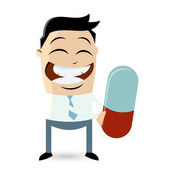 Funny businessman with big pill — Stock Vector