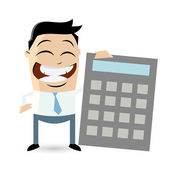 Funny businessman with calculator — Stock Vector