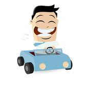 Funny businessman with car — Stok Vektör