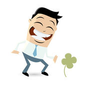Funny businessman with shamrock — Stock Vector