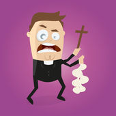 Funny cartoon priest is doing exorcism — Wektor stockowy