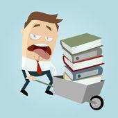 Funny businessman with wheelbarrow of books — Stock Vector