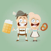 Bavarian couple with beer and pretzel — Stock Vector