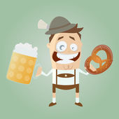 Bavarian man with beer and pretzel — Stock Vector
