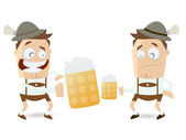 Bavarian guys comparing their beer — Stock Vector