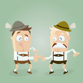 Men in lederhosen doing bavarian sports fingerhakeln — Stock Vector