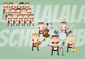 Funny cartoon music band and choir — Stock Vector