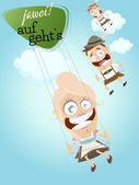 Bavarian people in swing ride and text that means yes let's go — Stock Vector