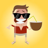 Funny cartoon man with coconut — Stock Vector