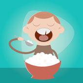 Funny cartoon boy eating pulp — Stock Vector