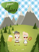Bavarian background with traditional people and text that means yes let's go — Stock Vector