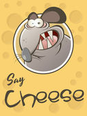 Funny cartoon rat with cheese background — Stock Vector