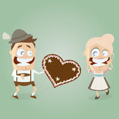 Bavarian admirer gives a gingerbread heart to his girl — Stock Vector