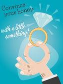 Retro cartoon hand with precious diamond — Vector de stock