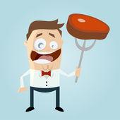 Funny cartoon man with steak — Stock Vector