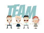 Funny business people are a team — Stock Vector