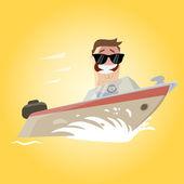 Funny cartoon man on a yacht — Stock Vector