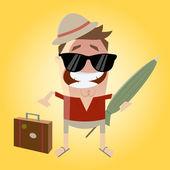 Funny cartoon tourist — Stock Vector