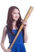 Girl holding a baseball bat. — Stock Photo