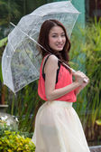 Young woman holding an umbrella. — Stock Photo