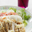 Chicken Salad topped with cream — Stock Photo