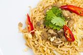 Fried noodles with pork. — Stock Photo