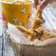 Stock Photo: Fried chicken and popcorn