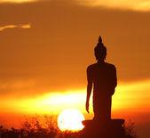 Silhouette of buddha statue — Stock Photo